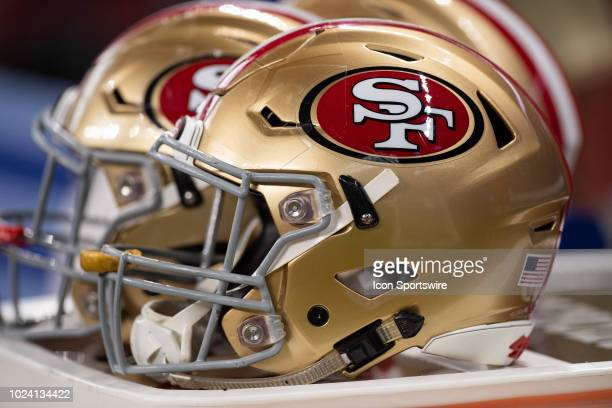 San Francisco 49ers helmet sits on a equipment trunk during the NFL preseason game between the Indianapolis Colts and San Francisco 49ers on August...