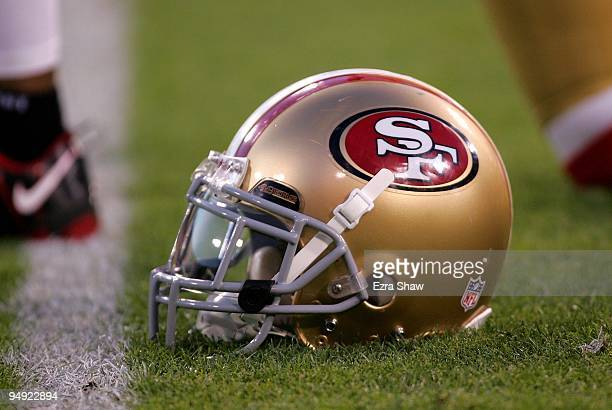 San Francisco 49ers helmet sits on the field prior to their game against the Arizona Cardinals at Candlestick Park on December 14, 2009 in San...