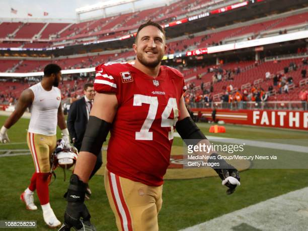 San Francisco 49ers' Joe Staley smiles as he walks off the field following their 2014 win against the Denver Broncos at Levi's Stadium in Santa Clara...