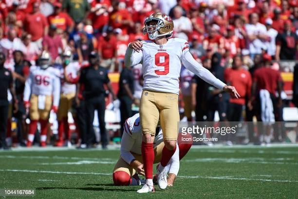 San Francisco 49ers kicker Robbie Gould looks on after kicking an extra point in action during an NFL game between the San Francisco 49ers and the...