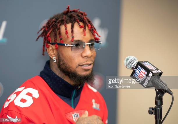 San Francisco 49ers Linebacker Kwon Alexander speaks to the media during the San Francisco 49ers press conference prior to Super Bowl LIV on January...