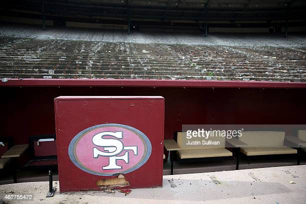 San Francisco 49ers logo remains in front of an empty section of seating inside Candlestick Park on February 4 2015 in San Francisco California The...