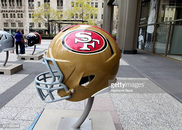 San Francisco 49ers NFL football helmet is on display in Pioneer Court to commemorate the NFL Draft 2015 in Chicago on April 30 2015 in Chicago...