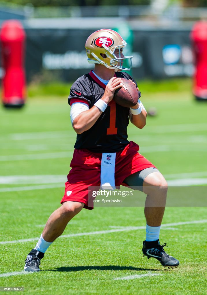 ... San Francisco 49ers (1) Nick Mullens competes for a position as  quarterback during the ... ba18f198d