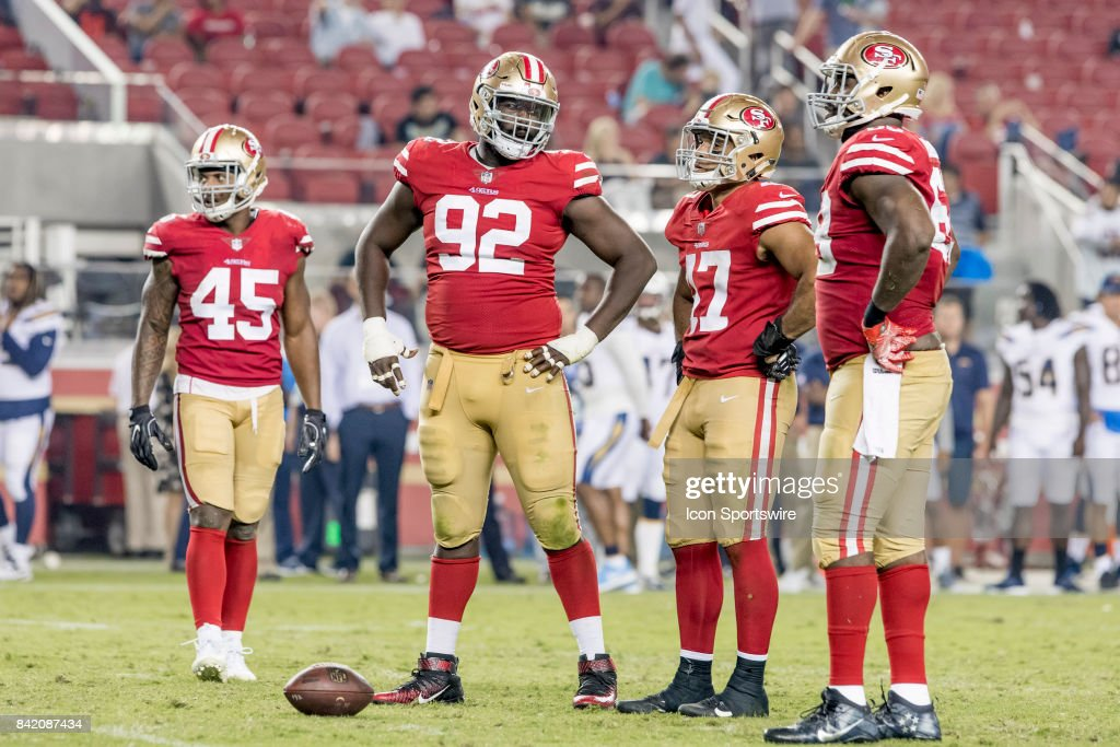 San Francisco 49ers Nose Tackle Quinton Dial (92) gives advice to his line during a preseason NFL game between the Los Angeles Chargers and San Francisco 49ers on August 31, 2017, at Levi's Stadium in Santa Clara, CA.