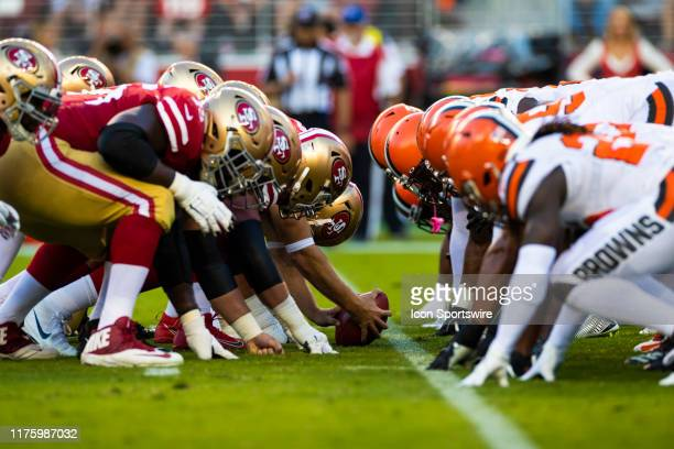 San Francisco 49ers offense and Cleveland Browns defense at the line of scrimmage before an extra point attempt during the NFL regular season...