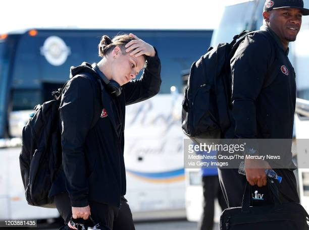 San Francisco 49ers offensive assistant coach Katie Sowers arrives at Norman Y Mineta San Jose International Airport after their return from Super...