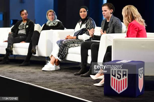 San Francisco 49ers Offensive Assistant Coach Katie Sowers speaks to the audience during the SheBelieves Summit at Nike New York Headquarters on...