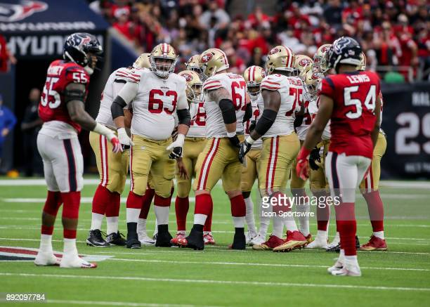 San Francisco 49ers offensive line gets in a huddle during the NFL game between the San Francisco 49ers and Houston Texans on December 10 2017 at NRG...