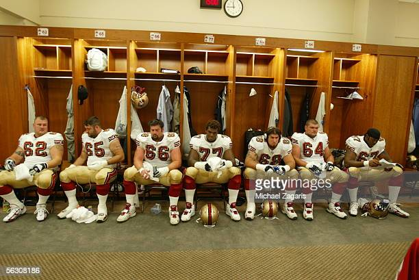San Francisco 49ers offensive linemen Jeremy Newberry Justin Smiley Eric Heitmann Kwame Harris Adam Snyder David Baas and Anthony Clement in the...