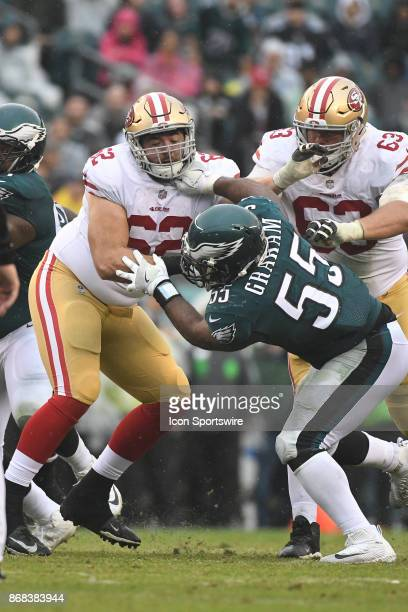 San Francisco 49ers offensive tackle Erik Magnuson blocks Philadelphia Eagles defensive end Brandon Graham during a NFL football game between the San...