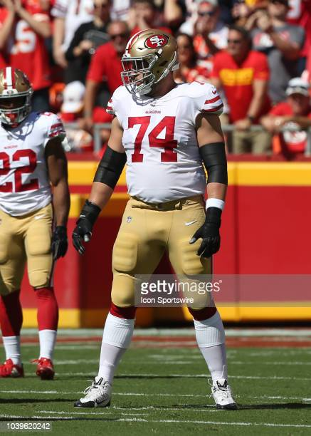 San Francisco 49ers offensive tackle Joe Staley before a snap in a week 3 NFL game between the San Francisco 49ers and Kansas City Chiefs on...