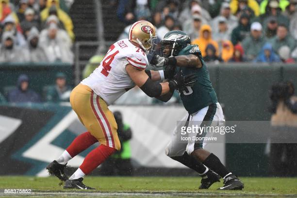 San Francisco 49ers offensive tackle Joe Staley blocks Philadelphia Eagles defensive end Brandon Graham during a NFL football game between the San...