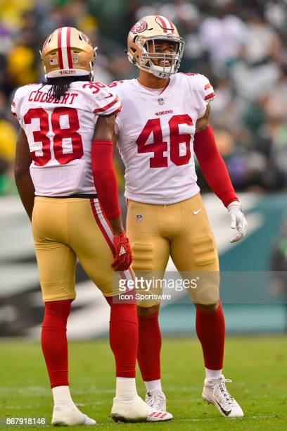 San Francisco 49ers outside linebacker Mark Nzeocha and San Francisco 49ers defensive back Adrian Colbert wait for play to resume during the NFL game...