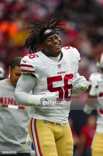 San Francisco 49ers outside linebacker Reuben Foster walks off the field following an injury during the football game between the San Francisco 49ers...