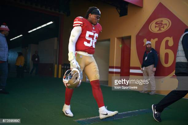San Francisco 49ers outside linebacker Reuben Foster walks onto the field during an NFL game between the Arizona Cardinals and the San Francisco...