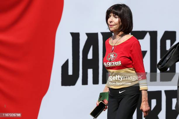 San Francisco 49ers owner and cochair Denise DeBartolo York walks across the field before the regular season game between the San Francisco 49ers and...