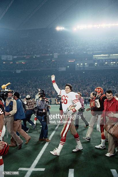 San Francisco 49ers player Allan Kennedy waves after his team beat the Cincinnati Bengals in Super Bowl XVI at the Pontiac Silverdome