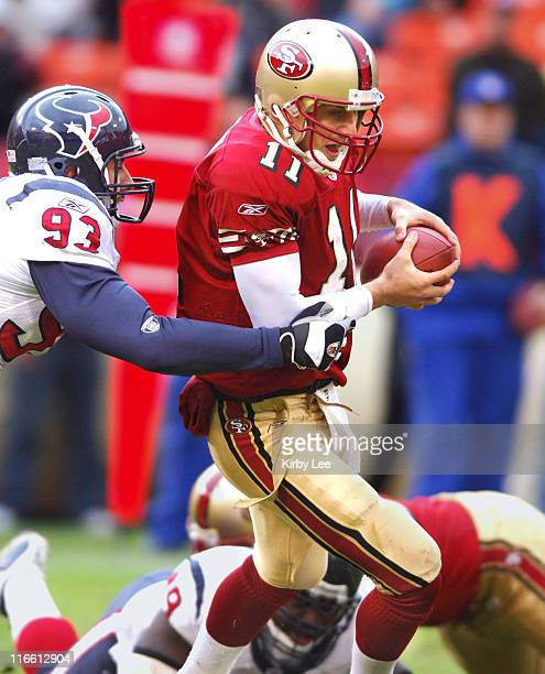 San Francisco 49ers quarterback Alex Smith is sacked by Houston Texans linebacker Jason Babin The 49ers defeated the Texans 2017 in overtime at...