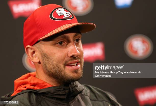 San Francisco 49ers quarterback Brian Hoyer answers questions from the news media following a joint practice with the Denver Broncos during training...