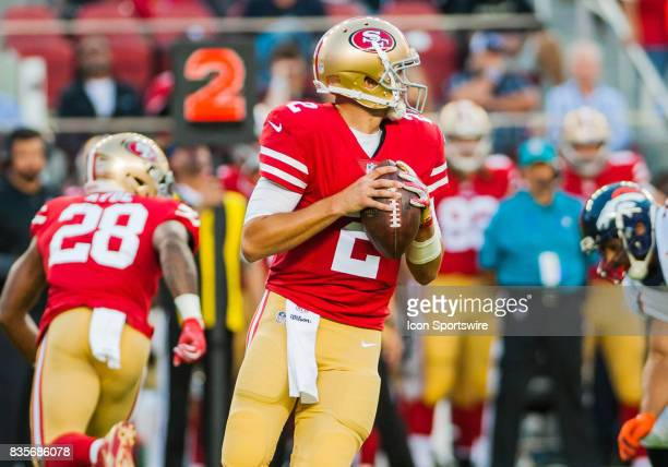 San Francisco 49ers quarterback Brian Hoyer steps back in the pocket to throw the ball during the preseason game between San Francisco 49ers verses...
