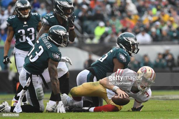 San Francisco 49ers quarterback CJ Beathard is sacked by Philadelphia Eagles defensive end Brandon Graham during a NFL football game between the San...