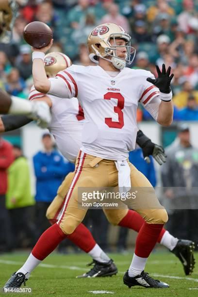 San Francisco 49ers quarterback CJ Beathard looks to throw the football during the NFL football game between the San Francisco 49ers and the...