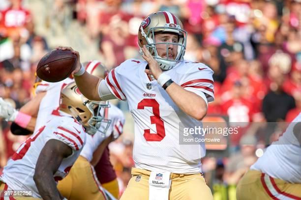 San Francisco 49ers quarterback CJ Beathard throws the football during a NFL football game between the San Francisco 49ers and the Washington...