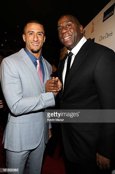 San Francisco 49ers quarterback Colin Kaepernick and Magic Johnson arrive at the 55th Annual GRAMMY Awards PreGRAMMY Gala and Salute to Industry...