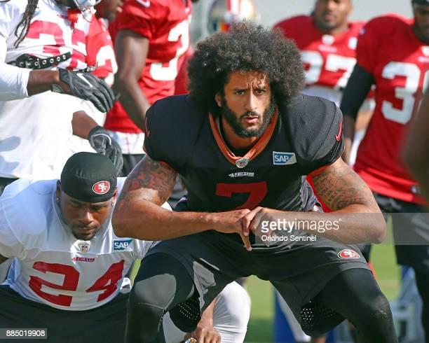San Francisco 49ers quarterback Colin Kaepernick during practice on Thursday Dec 1 2016 on campus at the University of Central Florida practice...