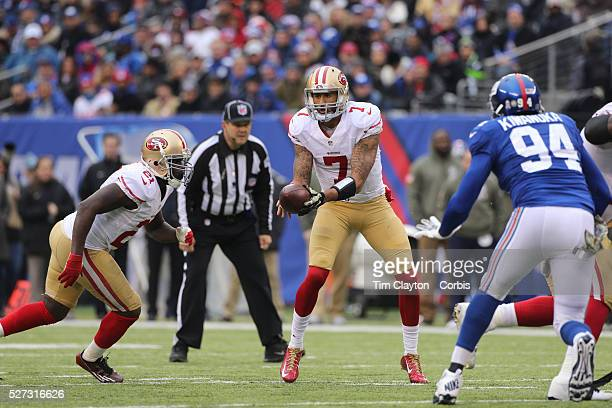 San Francisco 49ers quarterback Colin Kaepernick in action during the New York Giants V San Francisco 49ers NFL American Football match at MetLife...