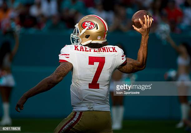 San Francisco 49ers Quarterback Colin Kaepernick throws the ball during the NFL football game between the San Francisco 49ers and the Miami Dolphins...