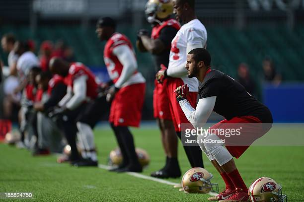 San Francisco 49ers quarterback Colin Kaepernick warms up during a San Francisco 49ers training session at Allianz Park on October 25 2013 in London...