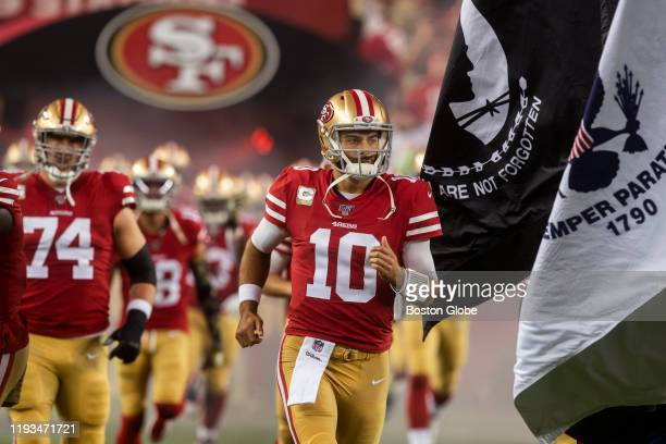 San Francisco 49ers quarterback Jimmy Garoppolo runs on to the field before the game. The San Francisco 49ers host the Seattle Seahawks in a Monday...