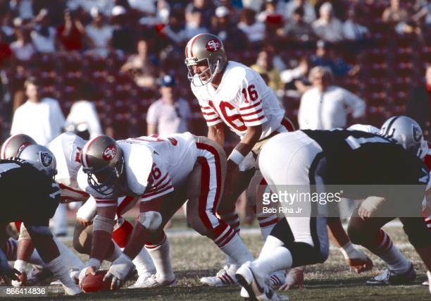 San Francisco 49'ers quarterback Joe Montana calls a play during 49'ers game against Los Angeles Raiders August 6 in Los Angeles California