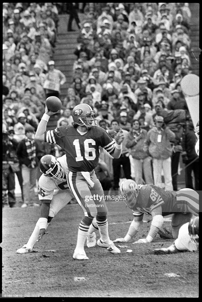 San Francisco 49ers' quarterback Joe Montana is shown about to pass the ball in the third quarter of this NFC playoff game versus the New York Giants