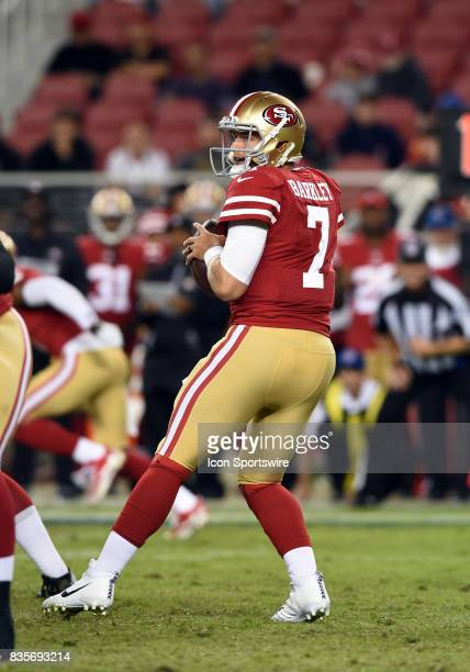 San Francisco 49ers Quarterback Matt Barkley drops back to pass during an NFL preseason game between the Denver Broncos and the San Francisco 49ers...