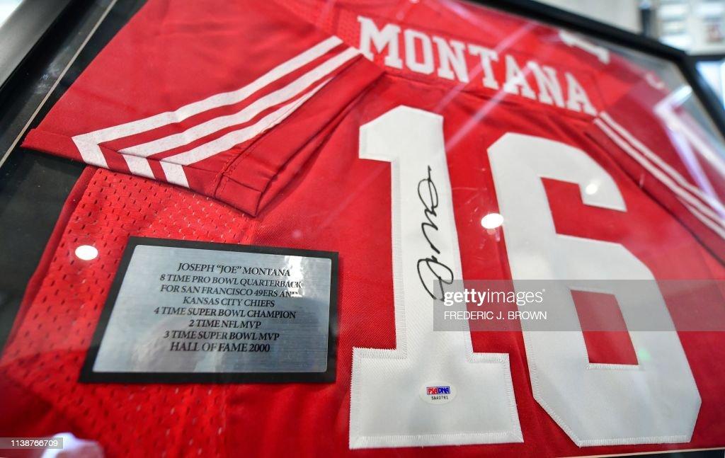 sports shoes 620b8 9c2e5 A San Francisco 49ers replica Joe Montana jersey with the ...