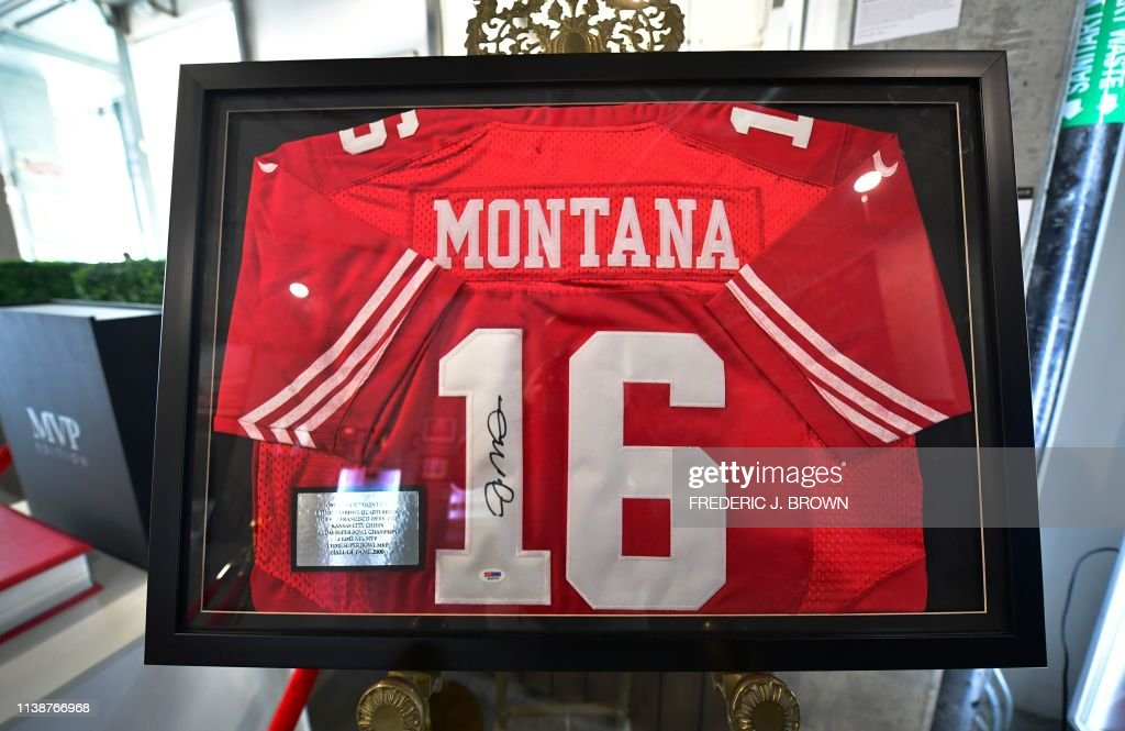 sports shoes 7255d c1c20 A San Francisco 49ers replica Joe Montana jersey with the ...
