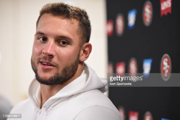 San Francisco 49ers rookie defensive lineman Nick Bosa speaks to media during a press conference following San Francisco 49ers training camp at SAP...