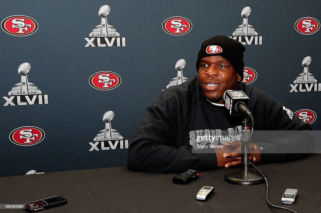 San Francisco 49ers running back Frank Gore speaks with the media during a media availability session for Super Bowl XLVII at the New Orleans Marriot on January 28, 2013 in New Orleans, Louisiana.