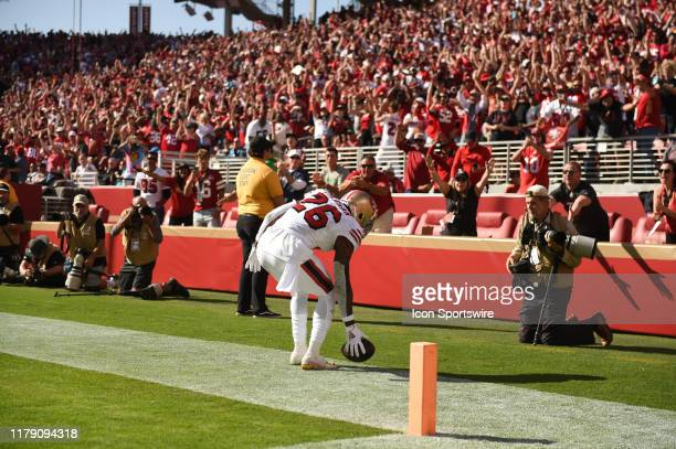 San Francisco 49ers Running Back Tevin Coleman after scoring a rushing touchdown during the NFL game between the Carolina Panthers and San Francisco...