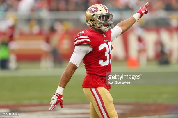 San Francisco 49ers safety Eric Reid celebrates a turnover recovery during an NFL game against the Jacksonville Jaguars on December 24 2017 at Levi's...