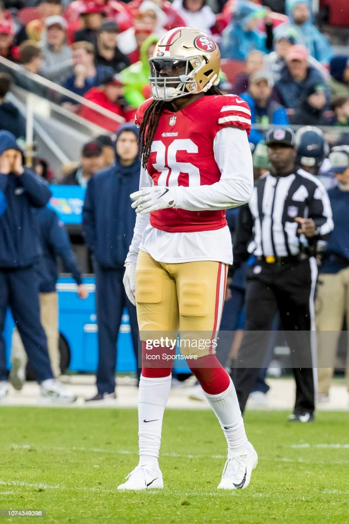 the latest 45f0b 02bb8 San Francisco 49ers Safety Marcell Harris waits for the play ...