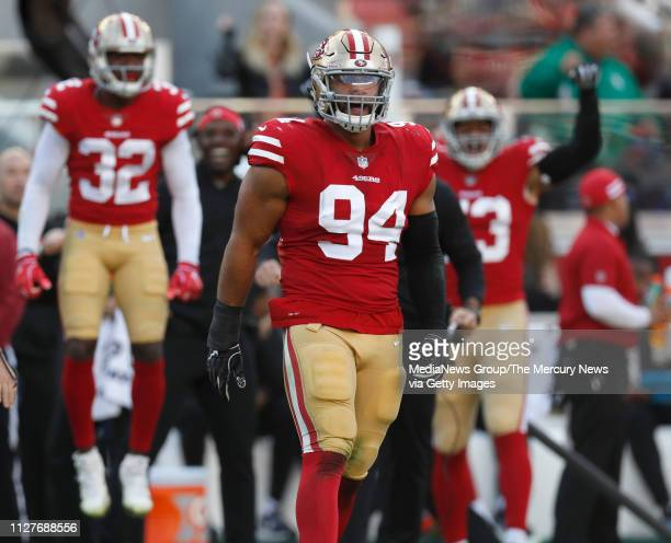 San Francisco 49ers' Solomon Thomas reads to a play during their game against the Chicago Bears in the second quarter at Levi's Stadium in Santa...