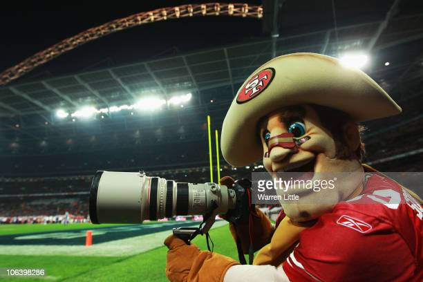 San Francisco 49ers Sourdough Sam jokes with a camera during the NFL International Series match between Denver Broncos and San Francisco 49ers at...