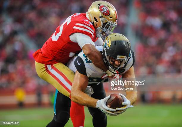 San Francisco 49ers strong safety Eric Reid tries to stop Jacksonville Jaguars tight end Ben Koyack from scoring a two point conversion during the...