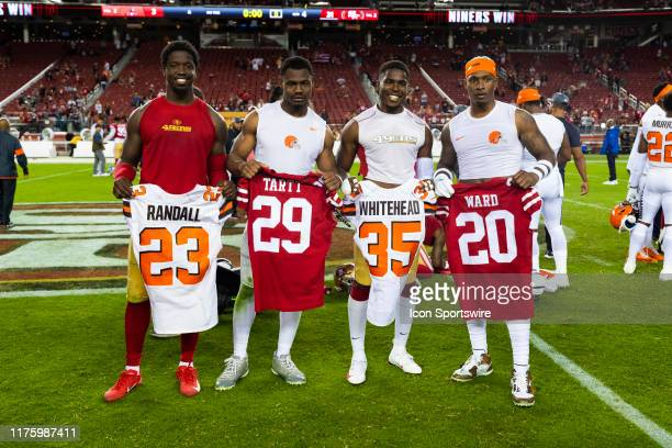 San Francisco 49ers strong safety Jaquiski Tartt Cleveland Browns strong safety Damarious Randall San Francisco 49ers cornerback Jimmie Ward and...