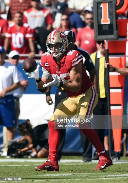 San Francisco 49ers Tight End George Kittle catches a pass during an NFL game between the San Francisco 49ers and the Los Angeles Rams on October 13...
