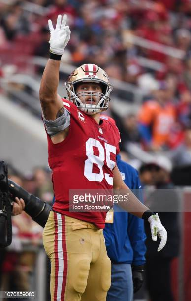 San Francisco 49ers Tight End George Kittle celebrates a first down during the NFL football game between the Denver Broncos and the San Francisco...